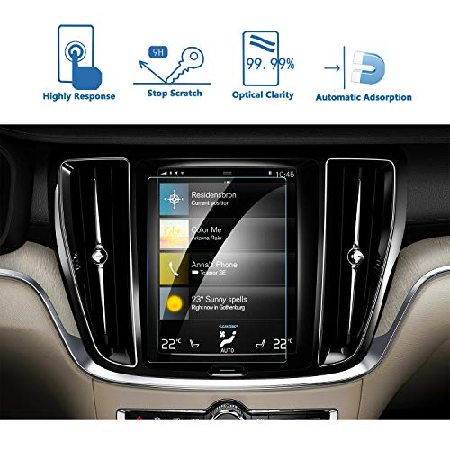(LFOTPP 2019 Volvo S60 8.7-Inch Sensus Car Navigation Screen Protector, Tempered Glass 9H Hardness Car Infotainment Display Center Touch Protective Film Scratch-Resistant)