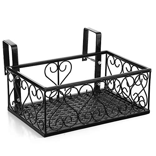 Iron Balcony Railing - Fesjoy Flower Pot Stand Rack, Deck Rail Flowerpot Railing Shelf Balcony Rail Planter Shelf Fence Railing Flower Pots Holder