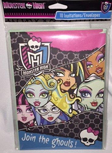 Monster High 10 Invitations/Envelopes