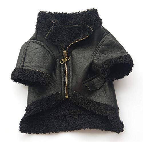 Duseedik Pet Leather Coat, Dog Puppy Cute Classic Outfit Fashion Zipper Jacket Coat T-Shirt Princess Dress