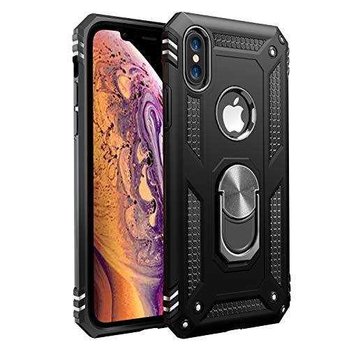 iPhone X Case | iPhone Xs Case [ Military Grade ] 15ft. Drop Tested Protective Case | Kickstand | Wireless Charging | Compatible with Apple iPhone X Case | iPhone Xs Case- Black