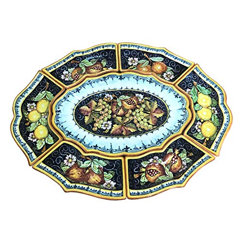 CERAMICHE D'ARTE PARRINI - Italian Ceramic Appetizer Tray Plate Pottery Fruit Painted Made in ITALY Tuscan -