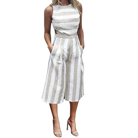 Las mujeres sin mangas de impresión de rayas largo Pelele Mono Casual estilo, [Casual