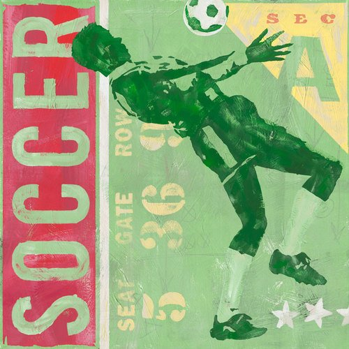 Vintage Football Daisy Canvas (Oopsy Daisy Game Ticket Soccer by Roger Groth Canvas Wall Art, 30 by 30-Inch)