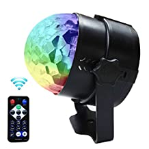 Lilyminiso 7 Colors Changing Mini Rotating Magic Crystal Ball Stage Party Lights With Remote Control Sound Actived Auto Flash 3W RGB For KTV Xmas Party Wedding Show Club Pub Disco DJ And More