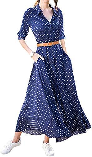 LunaJany Women's Roll Up Sleeve Side Pocket Polka Dot Button Causal Dress