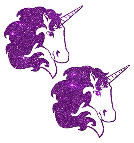 Unicorn: Purple Glitter Unicorn on White Nipple Pasties o/s - Sexy Unicorn Outfit