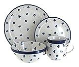 Polish Pottery Blueberry 4 Piece Dinner Set