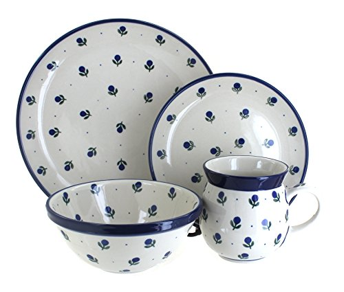 Blue Rose Polish Pottery Blueberry 16 Piece Dinner Set