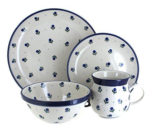 Blue Rose Polish Pottery Blueberry 16 Piece Dinner Set