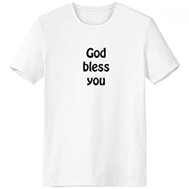 Amazon.com: God Bless You Christian Quotes Crew Neck White T ...