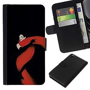 Negro Rojo Fatal Glamorous- la tarjeta de Crédito Slots PU Funda de cuero Monedero caso cubierta de piel Para HTC DESIRE 816