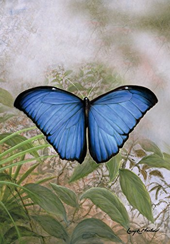 Toland Home Garden Blue Morpho 28 x 40 Inch Decorative Spring Summer Butterfly Portrait House Flag