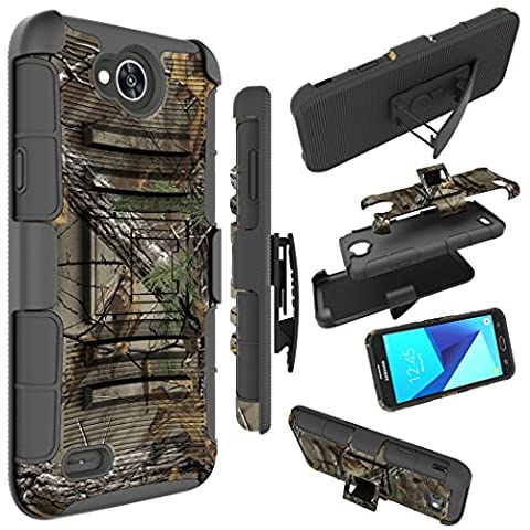 LG Fiesta LTE Case, LG X Charge Case, LG X Power 2 Case, Zoeirc [Heavy Duty] Armor Shock Proof Dual Layer Cover with Kickstand & Belt Clip Holster - Camo Cell Phone Cover