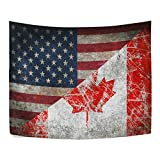 Retro Maple Leaf Canada and America Flag Friendship Combination Polyester Dorms Decor Tapestry Horizontal Large 51x60 Inch Home Decorate