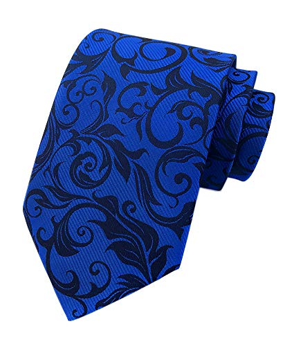 Men's Royal Blue Black Woven Silk Tie Easy-matching Suit Boys Dress Long Necktie ()