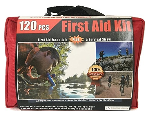 ONLY First Aid Kit with WATER FILTRATION STRAW: 120 pieces, Travel, Home, Outdoor, Adventure, Survival, Life, Sports. Water Purifier