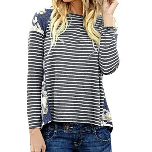 kaifongfu Women's Striped Shirt,Causal Long Sleeve O Neck Tops Blouse (Gray,L)