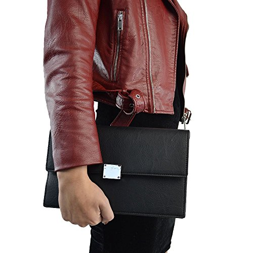 Essex Glam Women's Black Synthetic Leather Envelope Clutch ()