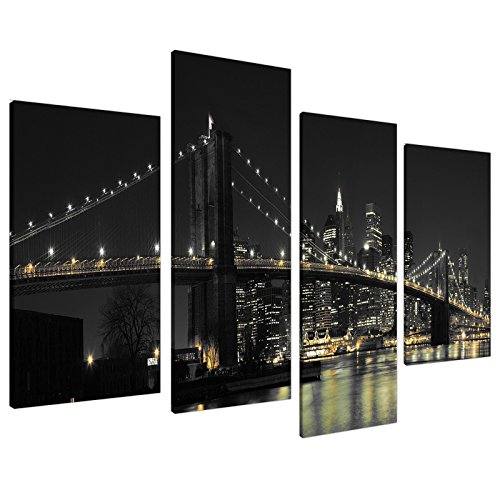Large New York City Canvas Wall Art Pictures Of Nyc Skyline In Black White Set 4   Big Cityscape Of Brooklyn Bridge At Night   Split Multi Panel Artwork   Xl   130Cm Wide