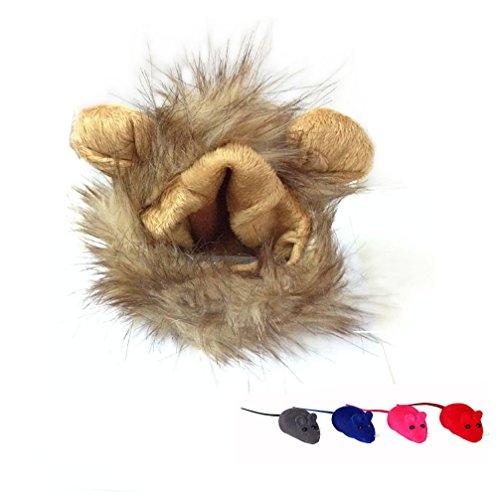 (Emours Cute Adorable Pet Lion Mane Wig for Small Medium Size Cats Dogs Puppy Kitten Halloween Fancy Dress Costume Accessories Brown with 4 Pcs Squeaky Mice Cat)