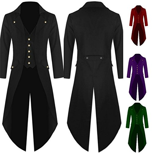 Mens Gothic Tailcoat Steampunk Jacket Victorian Costume Men's Tuxedo Suit Halloween Party (M, black)