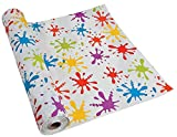 Paint Splatter Tablecloth Roll (100 Ft. X 40'') Birthday Party Table Cover. Plastic.