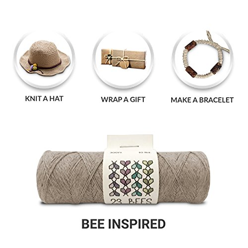 23 Bees 100% Organic Hemp String, Twine, Cord, Jewelry Making, Beading, Macrame, Crafts, (10 lb.)