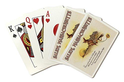 Salem, Massachusetts - Halloween Joys - Witch on Broom - Vintage Artwork (Playing Card Deck - 52 Card Poker Size with Jokers)
