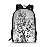 School Bags Forest Home Decor,Dead Old Branches Arms Limbs Sadness Symbol Tree of Life Offshoot Picture,Grey Black for Boys&Girls Mens Sport Daypack