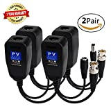 HD-CVI/TVI Video Balun,720P/1080P Passive Transmitter/Transceivers with DC Built-In Transient Suppression Protection for CCTV Security/Surveillance Camera Systems Use(No Power Required) 2Pairs/4Pack