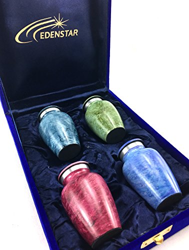 - EDENSTAR NEXTG Premium Quality Memorial Mini Keepsake Urns Handcrafted to Perfection Engraved with Unique Design - Small Keepsakes Cremation Urn for Ashes Handmade Funeral Urns Set of Four