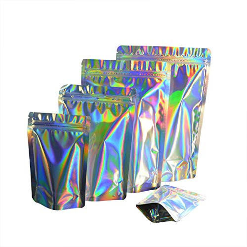 """100 Pcs Colorful Stand Up Zip Lock Bags Pouch,Mylar Aluminum Foil Standing Zipper Plastic Pouches Bags Bottom Gusset Pouch Keep Aroma Zip Lock Bags (Hologram, 8.5x13x2.5 cm(3.35""""x5.12""""x0.98""""))"""