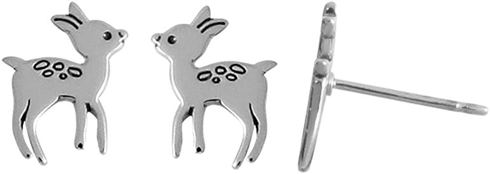 Boma Jewelry Sterling Silver Deer Fawn Stud Earrings
