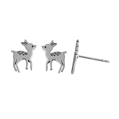 48ffdcbab Image Unavailable. Image not available for. Color: Boma Jewelry Sterling  Silver Deer Fawn Stud Earrings