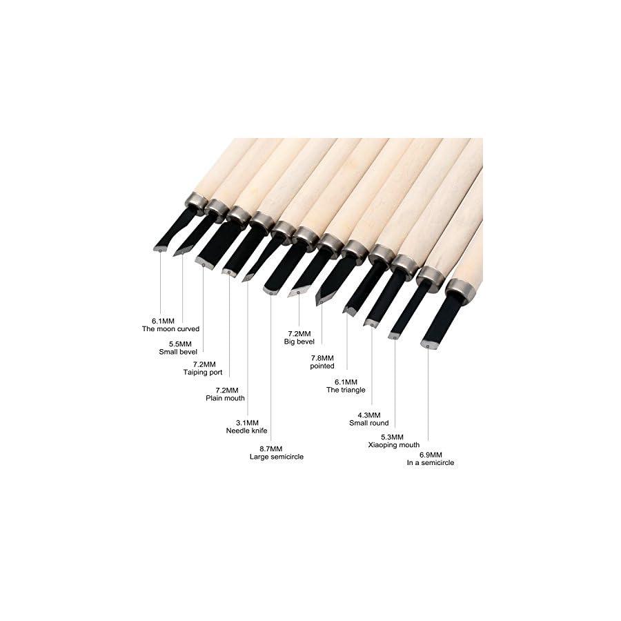 Shopline Professional 12 Pieces Wood Carving Chisel Set, Wood Carving Knife Kit