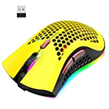 Wireless Lightweight Gaming Mouse Honeycomb with 7 Button Multi RGB Backlit Perforated Ergonomic Shell Optical Sensor Adjustable DPI Rechargeable 800 mAh Battery USB Receiver for PC Mac Gamer(Yellow) (Color: Yellow)