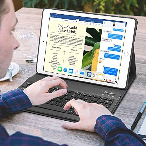 "New iPad 10.2 eighth seventh Generation 2019 Keyboard Case, Boriyuan 7 Colors Backlit Detachable Keyboard Slim Leather Folio Smart Cover for iPad 10.2 Inch/iPad Air 10.5""(third Gen)/iPad Pro 10.5 inch – Black"