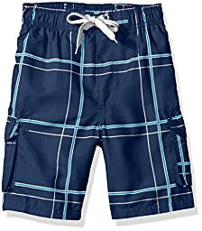 Kanu Surf Big Boys\' Flex Plaid Swim Trunk, Navy, Large (14/16)