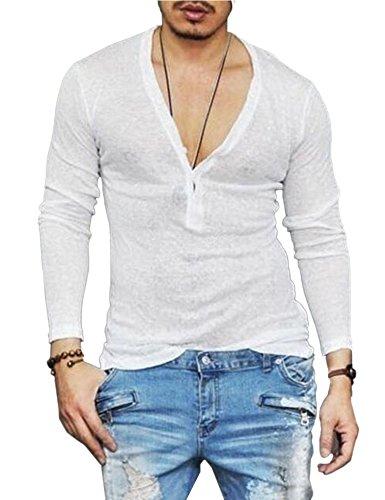 COOFANDY Men's Sexy See Through T Shirt Mesh Henley Shirt Deep V Neck Undershirts Long Sleeve Clubwear Mens Silk V-neck