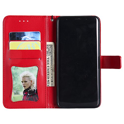 Funda Galaxy S9 Plus, SsHhUu Funda PU Piel Genuino Carcasa en Folio [Ranuras para Tarjetas] [Cierre Magnetico] con Acollador para Samsung Galaxy S9 Plus / S9+ (6.2) - Rojo Rojo