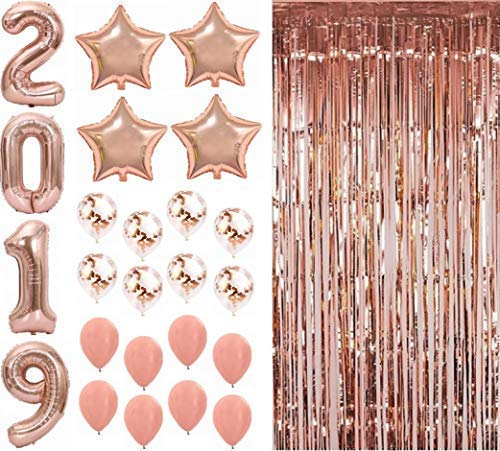 PARTY PALACE 2019 Rose Gold Balloons Foil Curtain Graduation Party Supplies College Party Decorations Photo Booth Backdrop 27 Pieces-Party Pack ()