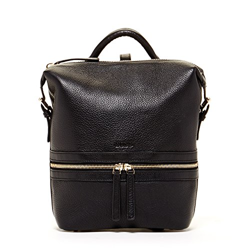 SUSU Black Leather Backpack Purse Unique Style Handbag Designer Backpacks Pebble Genuine Leather Stylish Purses For Women's Travel Handbags Small or Medium Size It Bag With Zipper Closure by SUSU