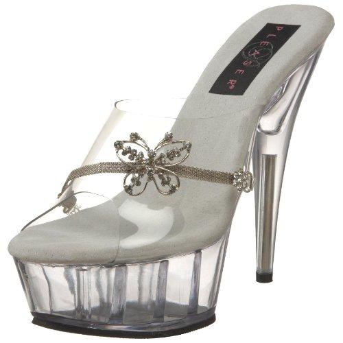 Pleaser 8361 - Sandalias de vestir para mujer Transparent/Argent