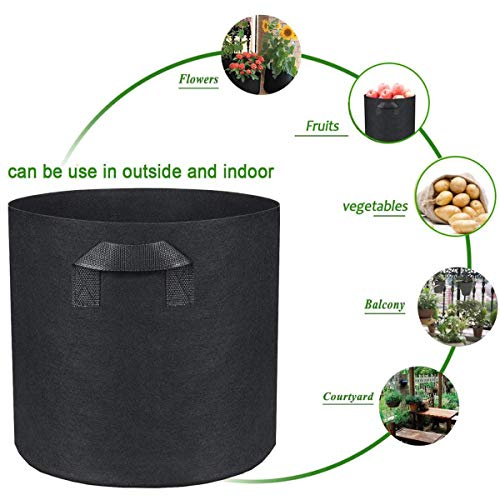 YIANO Nonwoven Fabric Plant Grow Bags 5 Gallon 5 Pack Aeration Flower Vegetable Garden Planting Smart Pot with Handles Black