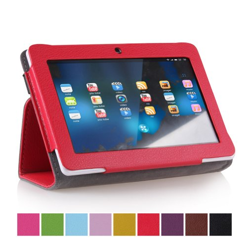 """Eforcase PU Folio Leather Slim 7inch Tablet Protective Cover Case with Stand for 7"""" Dragon Touch A13 Q88,Y88,Zeepad,Chromo,FastTouch,Alldaymall,Noria Jr,Noria T2, Matricom Tab Nero, Tagital with Dual Camera Tablet PC (Red)"""