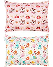 ALVABABY Kids Toddler Pillowcase 100% Organic Cotton Soft and Light Square 2 Pieces of Pillowcase Fits Size 18x13 and 14x20 Inch Baby Boys and Girls Pillowcase for Children Soft Bedding Small Pillow Cover for Baby Travel Pillows Set Gift