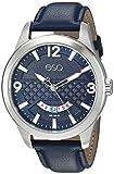 ESQ Men's 'Dress' Quartz Stainless Steel and Leather Casual Watch, Color Blue (Model: 37ESQE08301A)