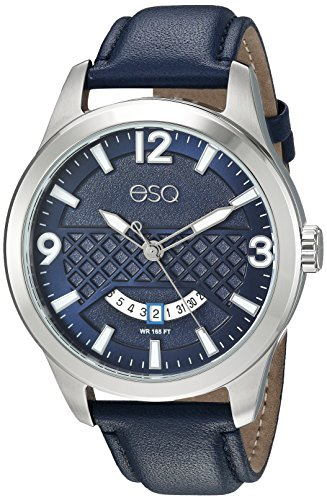 ESQ Men's 'Dress' Quartz Stainless Steel and Leather Casual Watch, Color:Blue (Model: 37ESQE08301A) - Esq Quartz Watch