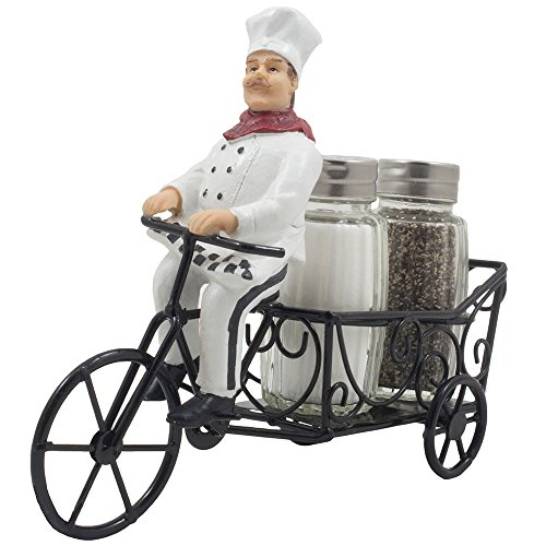 French Chef Pierre Riding Bicycle Cart Salt and Pepper Shaker Set Display Stand Figurine for Decorative Restaurant Dining Room Table Centerpieces or Cottage Kitchen Decor Spice Racks As Wedding Gifts (Table Decorations For Dining)